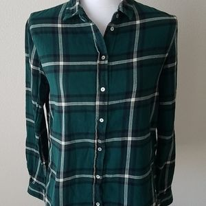 H&M Plaid Flannel Forest Green